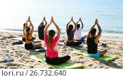 Купить «Back view of sporty people meditating in yoga position Padmasana on beach», видеоролик № 26732640, снято 29 июня 2017 г. (c) Яков Филимонов / Фотобанк Лори