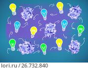 light bulbs with crumpled paper balls. Стоковое фото, агентство Wavebreak Media / Фотобанк Лори