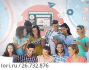 Купить «Group of students reading in front of social media graphics», фото № 26732876, снято 27 мая 2020 г. (c) Wavebreak Media / Фотобанк Лори