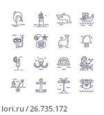 Set of sea icons. Стоковая иллюстрация, иллюстратор Liliya Mekhonoshina / Фотобанк Лори
