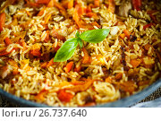 Купить «Pilaf with beef, carrots, onions, garlic, pepper and cumin.», фото № 26737640, снято 6 августа 2017 г. (c) Peredniankina / Фотобанк Лори