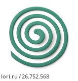 Купить «Top view of mosquito coil», фото № 26752568, снято 1 августа 2017 г. (c) Антон Стариков / Фотобанк Лори