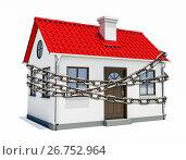 Купить «House with a red roof is wrapped in metal chain», иллюстрация № 26752964 (c) Кирилл Черезов / Фотобанк Лори