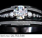 Купить «Black gold coating engagement ring with diamond gem», иллюстрация № 26753544 (c) Gennadiy Poznyakov / Фотобанк Лори