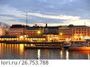 Купить «Market square Kauppatori at night. There are also ferries to Suomenlinna. Helsinki», фото № 26753788, снято 26 июля 2017 г. (c) Валерия Попова / Фотобанк Лори