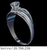 Купить «Silver engagement band with diamond gem.», иллюстрация № 26766236 (c) Gennadiy Poznyakov / Фотобанк Лори