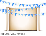 Oktoberfest card design template. Bright buntings garlands decorated in traditional colors of Bavaria. Стоковая иллюстрация, иллюстратор Elena Titova / Фотобанк Лори