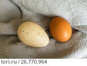 Купить «Два яйца - индейки и куриное на кухонной салфетке», фото № 26770964, снято 18 августа 2017 г. (c) Виктория Катьянова / Фотобанк Лори