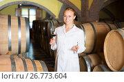 Купить «Woman checking ageing process of wine», фото № 26773604, снято 21 сентября 2016 г. (c) Яков Филимонов / Фотобанк Лори