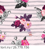 Купить «Beautiful seamless pattern with half-colored bunches of wild rose flowers against pink background with gray horizontal paint traces. Vector illustration for wrapping paper, wallpaper, textile print.», иллюстрация № 26778156 (c) Olga Petrakova / Фотобанк Лори