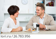 Купить «Man and woman with coffee», фото № 26783956, снято 17 октября 2018 г. (c) Яков Филимонов / Фотобанк Лори
