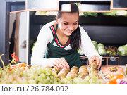 Купить «Woman seller placing kiwis», фото № 26784092, снято 23 ноября 2016 г. (c) Яков Филимонов / Фотобанк Лори