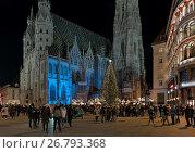 Купить «Рождественский базар около собора Святого Стефана в Вене, Австрия», фото № 26793368, снято 10 декабря 2016 г. (c) Михаил Марковский / Фотобанк Лори