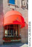 Купить «Red awning of Famous Astoria hotel at Bolshaya Morskaya street in St Petersburg, Russia -closeup street view», фото № 26803656, снято 15 августа 2017 г. (c) Зезелина Марина / Фотобанк Лори
