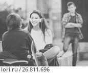Купить «Jealous teen and his friends after conflict», фото № 26811696, снято 18 января 2019 г. (c) Яков Филимонов / Фотобанк Лори