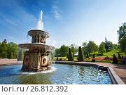 Купить «Roman fountains in the Lower Park of Peterhof», фото № 26812392, снято 22 мая 2016 г. (c) Сергей Новиков / Фотобанк Лори