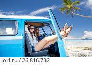 Купить «happy hippie women in minivan car on summer beach», фото № 26816732, снято 27 августа 2015 г. (c) Syda Productions / Фотобанк Лори