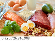 Купить «natural protein food on table», фото № 26816908, снято 14 мая 2015 г. (c) Syda Productions / Фотобанк Лори