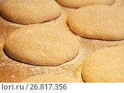 Купить «close up of yeast bread dough at bakery», фото № 26817356, снято 15 мая 2017 г. (c) Syda Productions / Фотобанк Лори