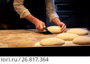 Купить «baker portioning dough with bench cutter at bakery», фото № 26817364, снято 15 мая 2017 г. (c) Syda Productions / Фотобанк Лори