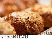 Купить «close up of yeast bread, bun or pie at bakery», фото № 26817724, снято 16 мая 2017 г. (c) Syda Productions / Фотобанк Лори