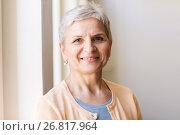 Купить «portrait of happy smiling gray senior woman», фото № 26817964, снято 26 мая 2017 г. (c) Syda Productions / Фотобанк Лори