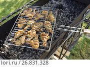 Купить «Шашлык из курицы на решетке», эксклюзивное фото № 26831328, снято 19 августа 2017 г. (c) Юрий Морозов / Фотобанк Лори