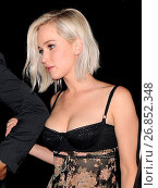 Купить «Jennifer Lawrence arrives at a club in Mayfair with ample cleavage on show in tight bodice dress Featuring: Jennifer Lawrence Where: London, United Kingdom...», фото № 26852348, снято 10 мая 2016 г. (c) age Fotostock / Фотобанк Лори