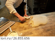 Купить «baker portioning dough with bench cutter at bakery», фото № 26855656, снято 15 мая 2017 г. (c) Syda Productions / Фотобанк Лори