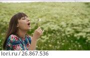 Купить «Smiling Woman Blowing on a Dandelion», видеоролик № 26867536, снято 24 мая 2017 г. (c) Илья Шаматура / Фотобанк Лори