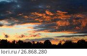 Купить «Beautiful red clouds at sunset», видеоролик № 26868280, снято 3 июля 2017 г. (c) Володина Ольга / Фотобанк Лори