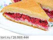 Купить «Кусок пирога со свежей малиной», фото № 26869444, снято 23 июля 2017 г. (c) Алёшина Оксана / Фотобанк Лори