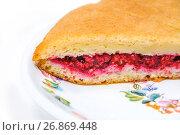 Купить «Кусок пирога со свежей малиной», фото № 26869448, снято 23 июля 2017 г. (c) Алёшина Оксана / Фотобанк Лори