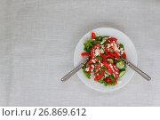 Купить «Shopska salad in a white plate on a white tablecloth. The concept of minimalism», фото № 26869612, снято 23 августа 2017 г. (c) Tetiana Chugunova / Фотобанк Лори