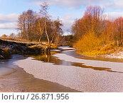 Купить «Речка Сережа и первый снег», фото № 26871956, снято 7 ноября 2007 г. (c) Игорь Камаев / Фотобанк Лори