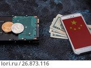 Купить «Bitcoin coin with HDD», фото № 26873116, снято 16 августа 2017 г. (c) Jan Jack Russo Media / Фотобанк Лори