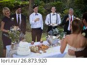 Guests and newly wedding couple having glasses of champagne. Стоковое фото, агентство Wavebreak Media / Фотобанк Лори