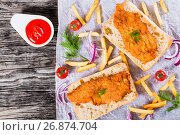 Купить «sandwich with ciabatta and Bread Crumb Coated fried pork chop», фото № 26874704, снято 14 июня 2016 г. (c) Oksana Zh / Фотобанк Лори