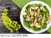 Купить «salad with chicken breast, spinach, celery, grapes and cheese», фото № 26875068, снято 24 июня 2016 г. (c) Oksana Zh / Фотобанк Лори