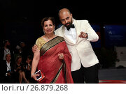 The director Ritesh Batra with his mother during Our Souls At Night red carpet - 74th Venice Film Festival, Italy - 01 Sep 2017. Редакционное фото, фотограф Maria Laura Antonelli / AGF/Maria Laura Antonelli / age Fotostock / Фотобанк Лори