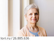 Купить «portrait of happy smiling gray senior woman», фото № 26885636, снято 26 мая 2017 г. (c) Syda Productions / Фотобанк Лори