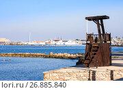 Купить «Beach Lifeguard tower on the beach, Paphos. Cyprus», фото № 26885840, снято 20 июля 2017 г. (c) Papoyan Irina / Фотобанк Лори