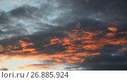 Купить «red clouds at sunset», видеоролик № 26885924, снято 3 июля 2017 г. (c) Володина Ольга / Фотобанк Лори