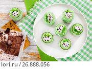 Купить «portions of mint Cheesecake Mousse Dessert», фото № 26888056, снято 10 января 2017 г. (c) Oksana Zh / Фотобанк Лори