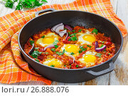 Купить «fried eggs, onion, bell pepper, tomatoes, chilli and spices», фото № 26888076, снято 19 августа 2019 г. (c) Oksana Zh / Фотобанк Лори