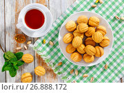 Купить «Walnuts Shape Sweet Homemade Cookies with sweet condensed milk filling», фото № 26888172, снято 21 ноября 2018 г. (c) Oksana Zh / Фотобанк Лори