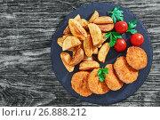 Купить «Close-up of juicy delicious fried chicken cutlets», фото № 26888212, снято 10 июля 2020 г. (c) Oksana Zh / Фотобанк Лори
