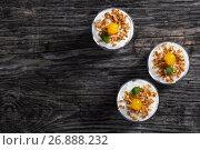 Купить «portions of granola decorated with cocktail cherry and mint», фото № 26888232, снято 31 января 2017 г. (c) Oksana Zh / Фотобанк Лори