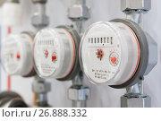 Купить «Several water meters.», фото № 26888332, снято 8 февраля 2017 г. (c) Андрей Радченко / Фотобанк Лори