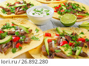 Купить «delicious tacos Lengua on corn tortilla», фото № 26892280, снято 3 июня 2017 г. (c) Oksana Zh / Фотобанк Лори